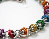 Custom Color Rainbow Chainmail Barrels Necklace