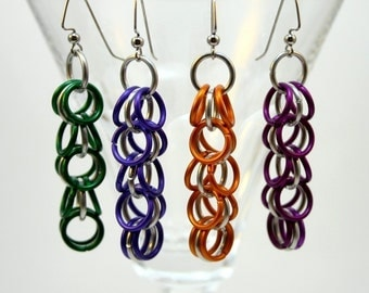 More Colors - Shaggy Loops Chainmail Earrings