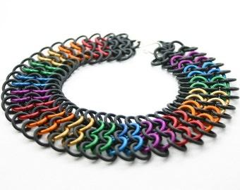 Custom Color Rainbow Chainmail Stretch Choker