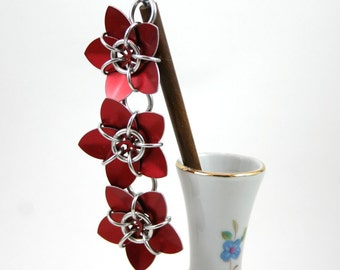Red Cascading Scale Flower Hair Stick