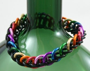Rainbow and Black Stretchy Half Persian Bracelet