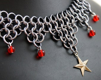 Red Nautical Star Chainmail Necklace