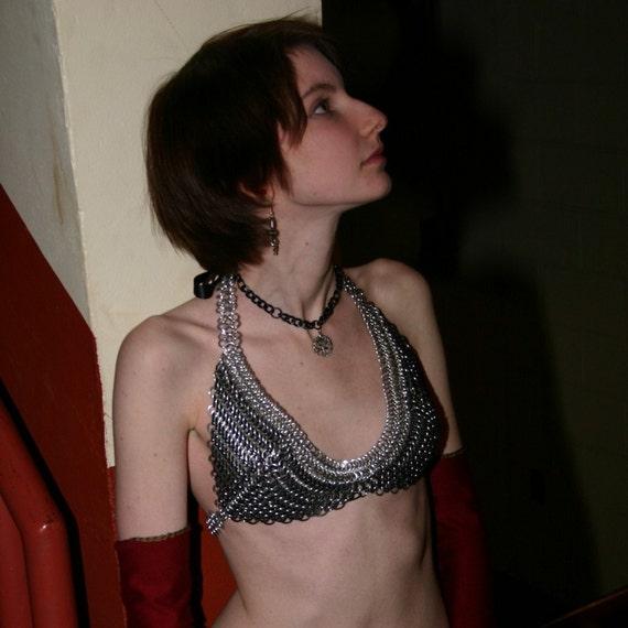 Custom Silver and Black Chainmail Bikini Top