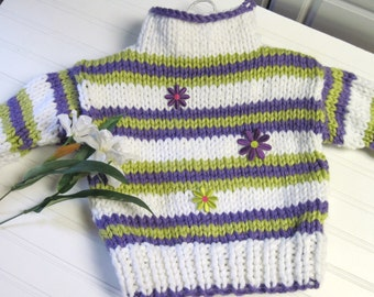 Knitting Pattern Sweater Striped Funnel Neck  Child 3 to 12 years old
