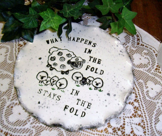 Whimsical Family Imprinted Plate Stoneware Clay