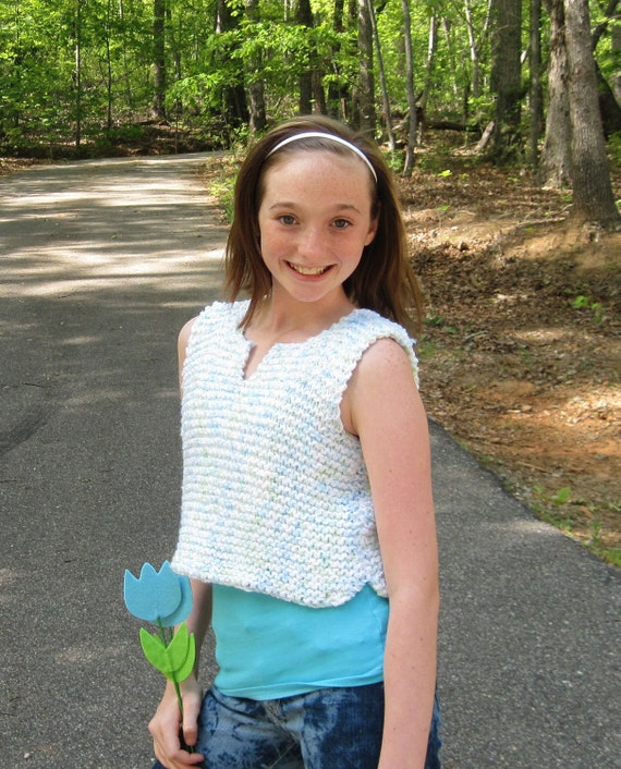 Tween To Teen Top Knitting Pattern From Ages 7 To Teen Sizes
