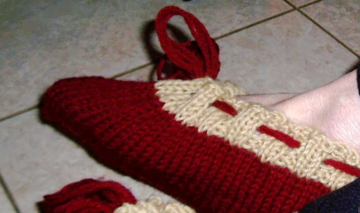 Knitting Pattern: Personalized Initial Dorm Slippers in a Bag Adult Slippers ...