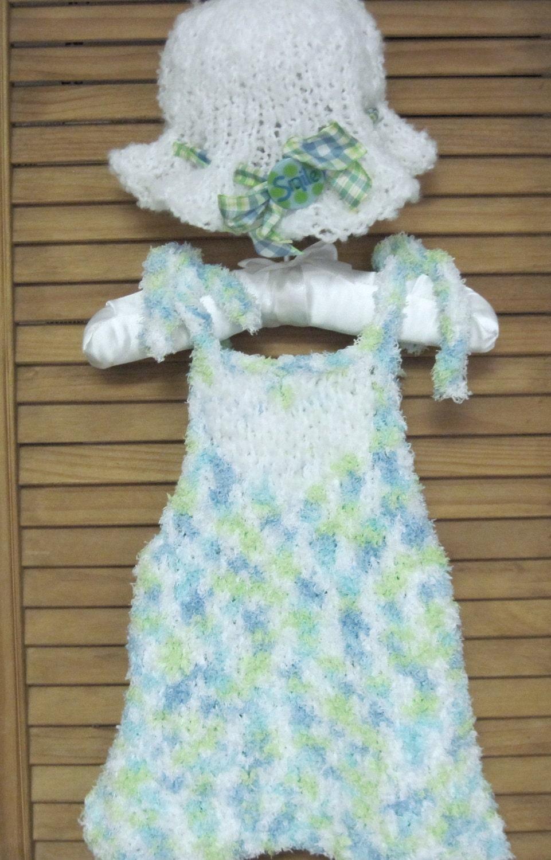 Babys Sun Dress and Hat Knitting Pattern