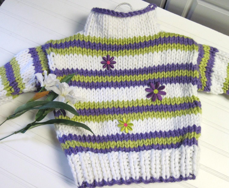 Knitting Pattern Striped Cardigan : Knitting Pattern Sweater Striped Funnel Neck Child 3 to 12