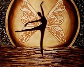 PRINT FANTASY ENCHANTED MOONLIGHT SERENADE MOON STARS BUTTERFLY FAIRY FAIRIE FAERY ART PAINTING SEPIA WATER SILHOUETTE BROWN FREE SHIPPING