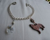 Twilight Inspired Charm Bracelet with Wooden Charm