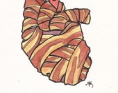 bacon wrapped heart valentine card 4x6