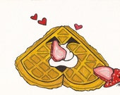 kawaii belgian waffle with strawberries and cream valentine postcard