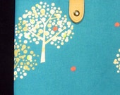 MacBook Air Padded Sleeve Case with Japanese Button Tab - Trees (turquiose)