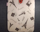 iPad Padded Sleeve Case with Button - J'adore Paris (blush)