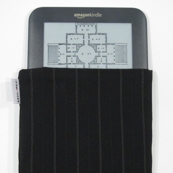 CLEARANCE SALE Kindle Padded Sleeve - Pinstripes on Black - Last One
