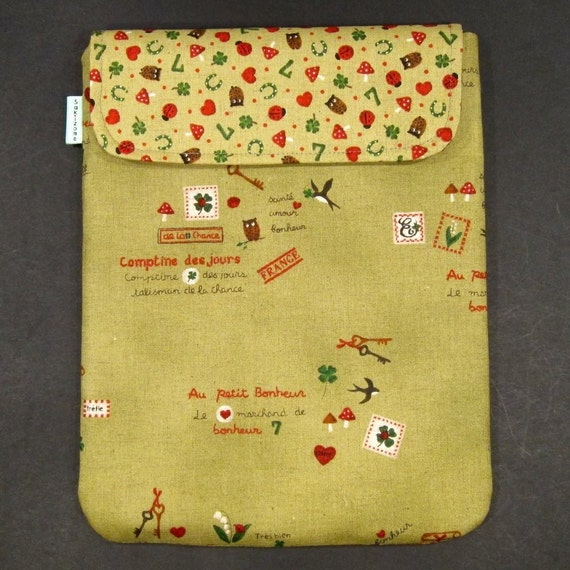 SALE 50% OFF iPad Padded Case - Bonheur (Happiness)  (Chartreuse) - Last One
