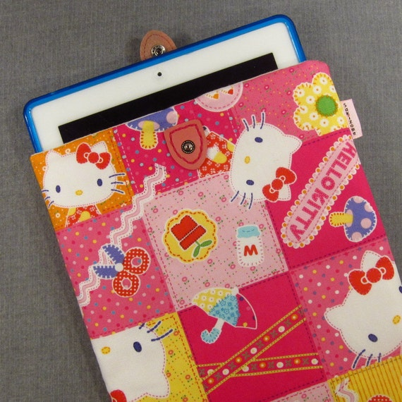 iPad Padded Sleeve Case with Japanese Button Tab - Hello Kitty Patchwork - Last One