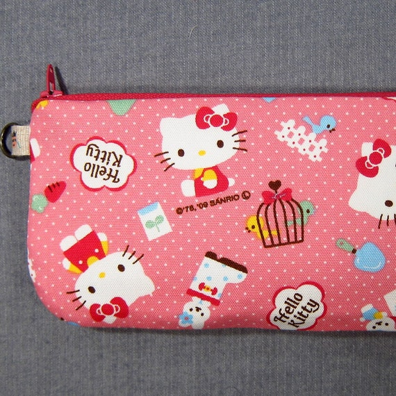 Pencil Case / Large Pouch - Hello Kitty (pink) - OOAK