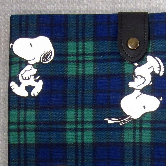 CLEARANCE SALE iPad Padded Sleeve Case with Button Tab - Snoopy on Tartan - Last One