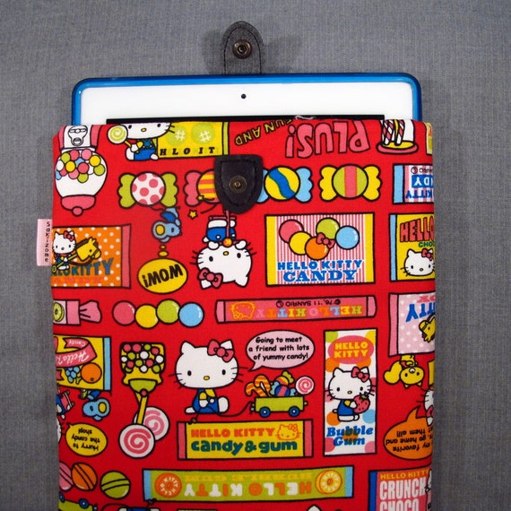 SALE 75% OFF iPad Padded Sleeve Case with Japanese Button Tab - Hello Kitty Candy