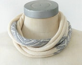 ethnic Jacquard -  one necklace scarf  in gray-blue
