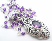 Amethyst Necklace wire wrapped purple gemstone february birthstone jewelry - clearance