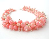Pink Coral Bracelet wire wrapped sterling silver coral jewelry mothers day fashion