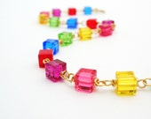 Swarovski Crystal Bracelet rainbow cube chain wire wrapped gold filled handmade jewelry autumn fashion christmas gift ideas for women