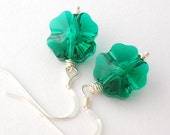 Emerald Green Clover Earrings lucky charm swarovski crystal jewelry st patricks day christmas in july free shipping australia