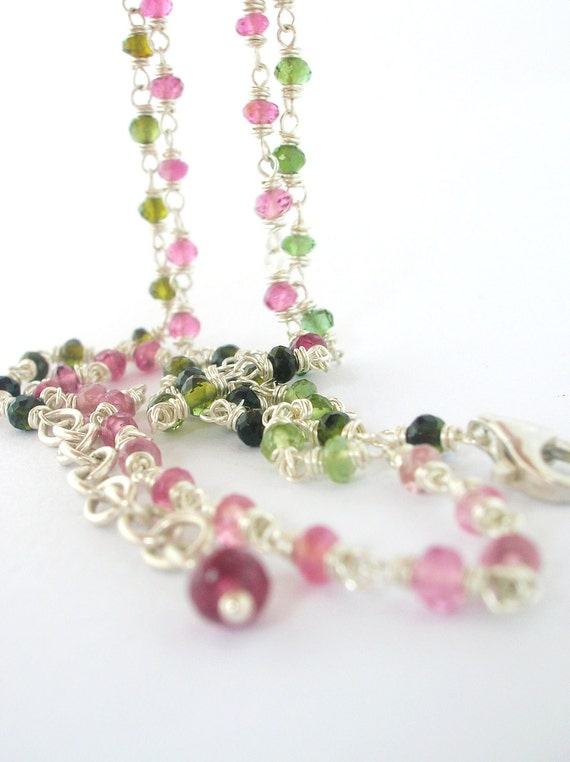 Watermelon Tourmaline Necklace wire wrapped tiny pink green gemstones in sterling silver