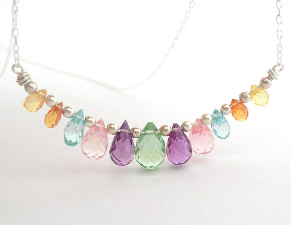 Pastel Rainbow Drops Necklace sterling silver wire wrapped dainty jewelry