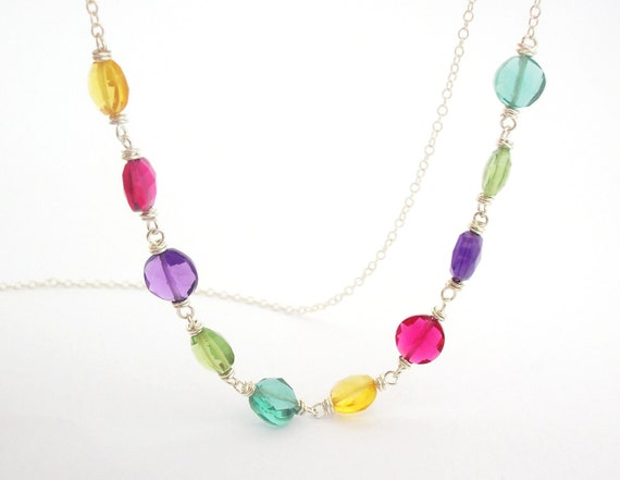 Polka Dot Rainbow Necklace wire wrapped sterling silver dainty jewelry