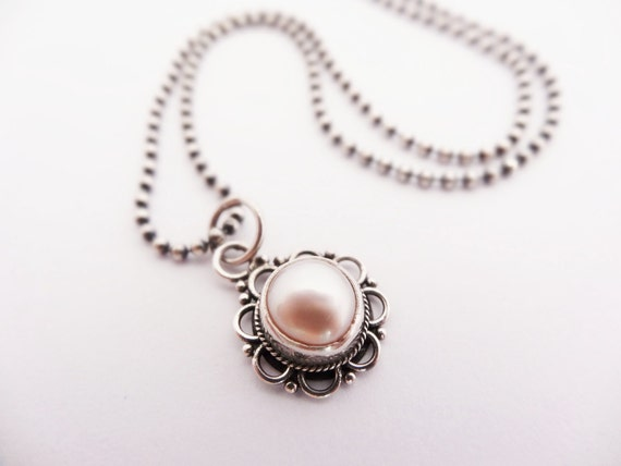 Freshwater Pearl Flower Necklace oxidized sterling silver june birthstone pearl jewelry