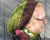 Sale XL Crochet Womans Slouchy Beret 100% Wool Green and Brown Hat - Unisex Man or Woman