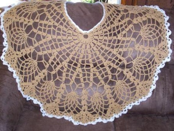 SALE Brown Pineapple Lacy Shawl Crocheted - All Cotton