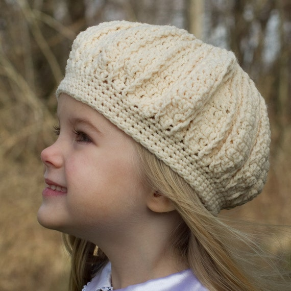 Reserved Listing Girl's Crochet Hat - CLOSEOUT SALE - Made to fit as a Beret or like a Crown White Hat - Photo Prop