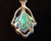 Hamsa , Chamsa, Hand of Fatima , Protection Pendant ,Silver and Dichroic glass jewelry. Free expedited shipping.