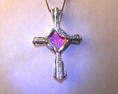 Silver Cross Necklace Pendant, Contemporary Christian jewelry,Cross jewelry. Free expedited shipping.