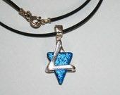 Small Magen David ,Star of David ,Silver and Dichroic glass jewelry.Free expedited shipping.