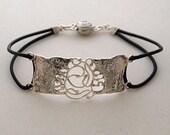 Kabbalah women bracelet,72 names of God bracelet, Silver and Leather flexible bracelet, Free expedited shipping.