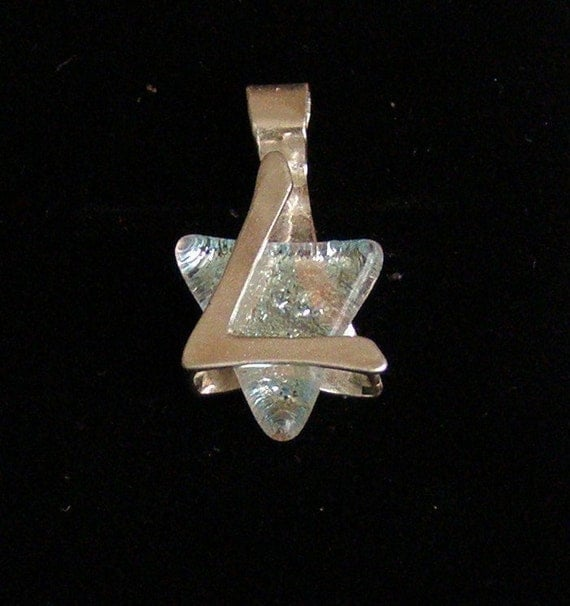 Silver Star of David , Protection Pendant, Silver and Dichroic glass. Free  shipping.
