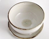 White Rustic Bowl and Plate - Stoneware (grès) Bowl
