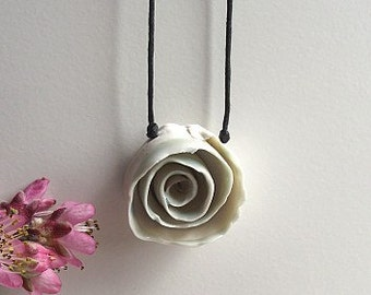 White Porcelain Rose   - Necklace