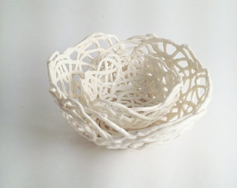 MADE TO ORDER - 2 Porcelain Paperclay Filigree Nested  Bowls in white - Porcelain paperclay