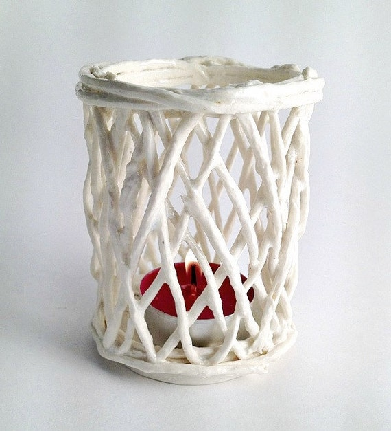 Tealight Porcelain Paperclay Cord in white - Porcelain paperclay