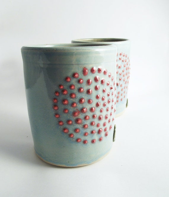 AVAILABLE IN 3 WEEKS - 2 Dots Pottery Tumbler  - Stoneware Tumber - Ceramic Tumbler - Ceramic cup - Blue