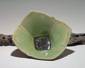 Green Ceramic Bowl, Tulip Bowl, Handmade.