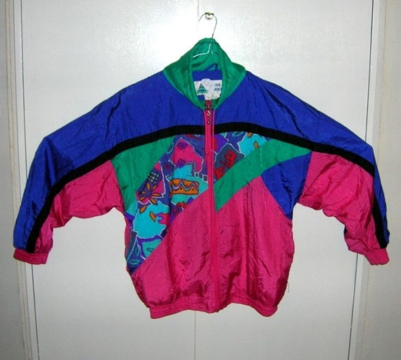 vintage 80 39 s windbreaker jacket colorful neon nu rave. Black Bedroom Furniture Sets. Home Design Ideas