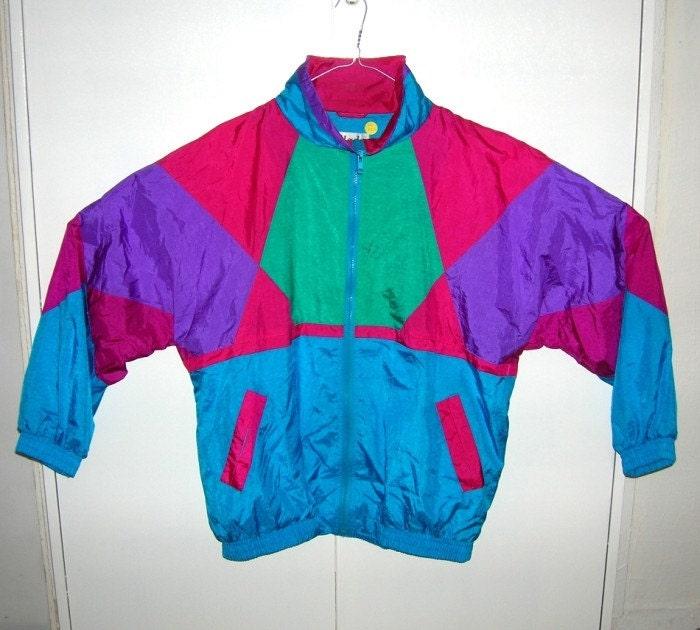 Vintage 80's WINDBREAKER JACKET Colorful Neon Nu Rave